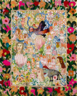A colourful embroidery by Anna Torma featuring a bird with a human face and other whimsical characters. The main composition is framed by large darker-coloured floral motifs.