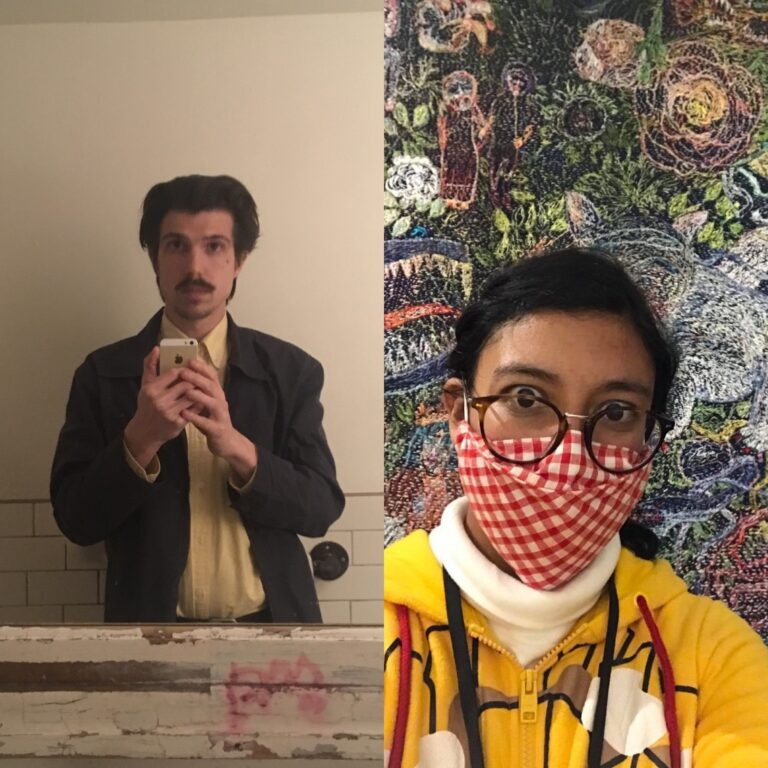 Two images collaged into one. The left image shows Development Assistant Jordan Fee holding up his phone, taking a mirror selfie. The left image shows Education Assistant Karina Roman wearing a red mask, posed in front of one of Anna Torma's embroidery pieces at the Museum.