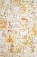 The image depicts samples of red work embroidery